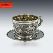 Antique 19thc Chinese Export Solid Silver Cased Cup And Saucer, Tuck Chang C.1890