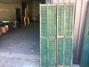 Pair Victorian Louvered Double Panel House Window Shutters Green Paint 69.25 X17