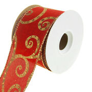 Gilded Scroll Swirl Linen Wired Christmas Holiday Ribbon, Red, 2-1/2-inch, 10 Ya