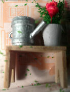 Bnip Small Town Treasures Miniature Planting Bench With Watering Can And Plant