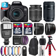 Canon Eos Rebel 800d T7i + 18-55mm Is + 55-250mm Is Stm + Slave Flash - 48gb Kit