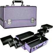 Ver Beauty Professional Train Makeup Case With 6 Extendable Trays Key Locks