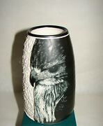 American Hand thrown ART POTTERY Relief-Carved EAGLE design VASE signed R.KAELIN