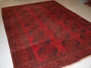 Antique Afghan Village Carpet Slightly Worn Lived With Look Circa 1900.