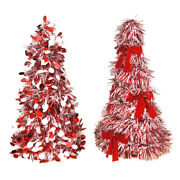 Christmas Tinsel Tree Cone Tabletop Topper Red/white 10-inch 2-piece