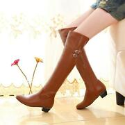 Womens Retro Knee High Knight Mid Cuban Heel Riding Warmer Winner Boots Shoes