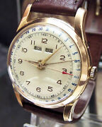 40and039s Swiss Antique Vintage Rare Triple Date Solid 18k Pink Gold Watch Nice Dial