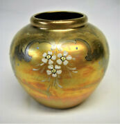 WELLER LASA VASE-IRIDESCENT DESIGN WITH HAND PAINTED FLOWERS-UNMARKED-VG-NR