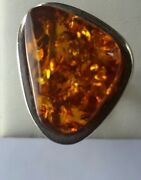 Odd Shaped Natural Amber 925 Sterling Silver Ring