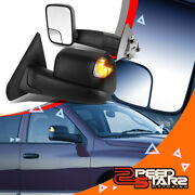 For 02-09 Ram Pair Manual Flip Up Side Towing Mirror W/led Smoked Turning Signal