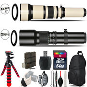 500mm-1300mm Telephoto Lens For D5300 D5500 + Flexible Tripod And More - 64gb Kit