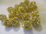 24 Gold Plated Crystal 8 Mm Bead Balls Made With Crystals Sbbg