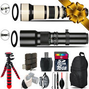 500mm-1300mm Telephoto Lens For Rebel T6 T6i + Flexible Tripod And More - 16gb Kit