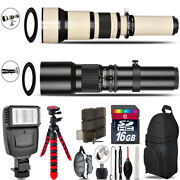 500mm-1300mm Telephoto Lens For Rebel T6 T6i + Flash + Tripod And More - 16gb Kit