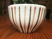 Vintage Art Pottery BOWL by Artist MANN mid century modern Cream Brown And Tan