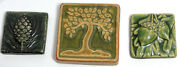 Detroit Pewabic Pottery lot of 3 art tiles matte glazed 2009-11 Acorn Tree Pine