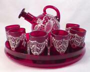 Ruby Bohemian Glass Childs Set Decanter Jug Tray 6 Cordials Enamel Lace Antique