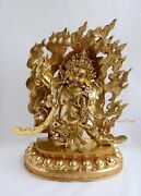 Hand Carved Face Painted Gold Gilded 19.5 Vajrapani Copper Statue Patan