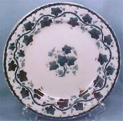 Antique Blue Transferware Plate Ivy Leaves Copper Luster Accents A Beauty