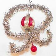 Antique Christmas Ornament Ribbon Bow Tinsel Red Mercury Glass Ball Victorian 47