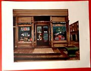 Vintage Signed D Art Print Old Gas Station Antiques Business Huntley Ad Store