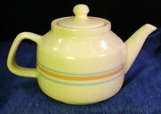 Vintage McCoy Pottery Teapot with 2 Matching Cups Banded Pink & Blue