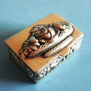 Amazing Vtg Sterling Silver Flowers Rose Fruits Cereals Wheat Snuff Pill Box