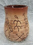 Handcrafted Geometric Pictograph Studio Pottery Ceramic 3x4 Vase 1990s FREE S/H