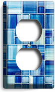 Blue Mosaic Glass Tiles Look Outlet Wall Plate Cover Kitchen Bathroom Home Decor