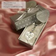 75 Chrome Key Chain With Crystal Heart Wedding Bridal Shower Party Favors