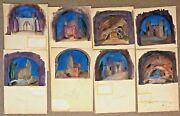 Gio Solimene Ross 8 Signed Il Trovatore Scene Paintings Opera Fort Worth Seattle