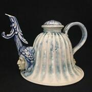 SIGNED DAVID KEYES FUNK STUDIO 2 FACED BELL TEAPOT BLUE TINT TACOMA ART POTTERY