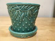 McCoy Pottery  1940's NM Green Turquoise Planter Flowered Attached  Saucer