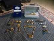 Vintage Swank Anson Ect Silver And Gold Tone Tie Tack And Clip Lot Of 14 Pieces Vg