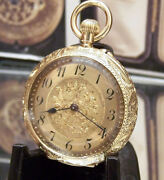 C1910 International Watch Co Antique Solid 18k Gold Watch And Gold And Silk Fob