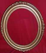 Redone Antique Gold Guilded Oval Wood Picture Frame - 33 By 28 1/4