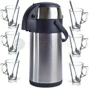 5l Stainless Steel Airpot Tea Coffee Vacuum Flask Thermos 6 Latte Glasses Spoon