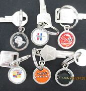 Vintage White Gold Charm Keyrings Choose Any Two Gm Ford Mopar Foreign Key Rings