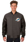 Nfl Miami Dolphins Jh Design Wool Poly Twill Leather Reversible Jacket 203 Ref7