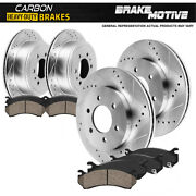 For Ford F150 Raptor Front + Rear Drill Slot Brake Rotors + Carbon Ceramic Pads