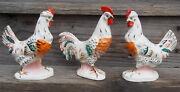 3 European Pottery Ceramic Rooster And Hen Chicken Gold Accented Figurines 7andrdquo H