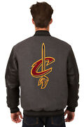 Nba Cleveland Cavaliers Jh Design Reversible Leather Wool Twill Jacket 203 Rev7