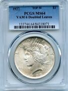 C9762- 1922 Vam-6a Ddr Leaves And Crack Top 50 Peace Dollar Pcgs Ms64