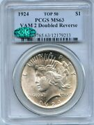 C9764- 1924 Vam-2 Doubled Reverse Top 50 Peace Dollar Pcgs Ms63 Cac