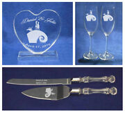 Nightmare Before Christmas Jack Sally Wedding Knife And Glasses Cake Topper New