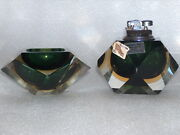 Vintage Very Nice Murano Glass Set Of Desk/table Lighter And Ashtray Italy