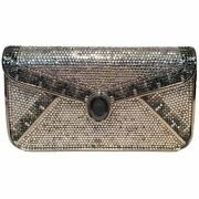 Judith Leiber Vintage Roman Soldier Cameo Crystal Minaudiere Clutch