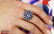 18k Fine Gold Diamond And Sapphire Designer Dom Style Right Hand Ring