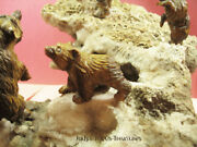 4 Hand Carved Tiger's Eye Bears On Mineral Specimen From Idar Oberstein Germany