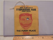 Rare 1930s Coney Island Steeplechase Park Admission String Tag Ticket 25 Cents